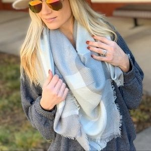 Gray and cream plaid blanket scarf